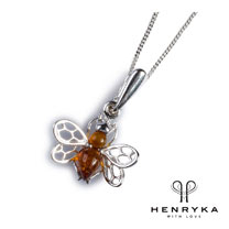 Tiny Honey Bee Necklace in Silver and Cognac Amber