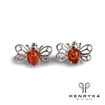 Tiny Honey Bee Stud Earrings in Silver and Cognac Amber