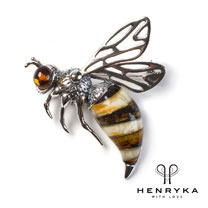 Hornet Brooch in Silver and Amber