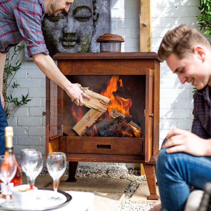 Volantis Oxidised Steel Cabinet Outdoor Fireplace