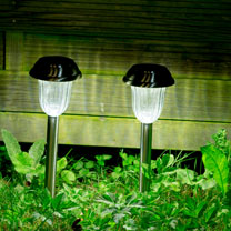 Set of 4 Solar Pathway Lights - Brushed Nickel