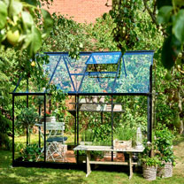 Greenhouse Qube 68 Black Frame, Toughened Glass with Base