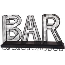 Metal BAR' Sign and Wine Glass Holder