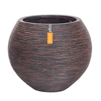 Capi Nature Planter - Vase Ball Rib Brown