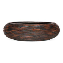 Capi Nature Bowl Round Rib Planter - Brown