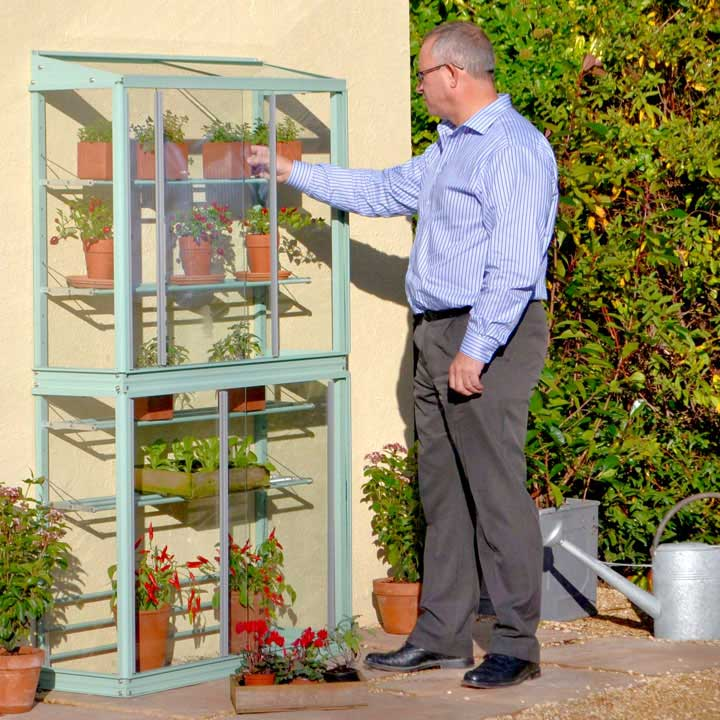 Classic Small Westminster Tall Growhouse - Cotswold Green