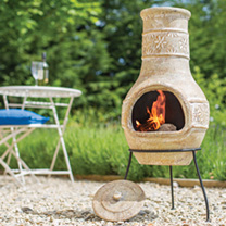 This is a medium-sized chimenea that is a great addition to all gardens. The chimenea has been handmade and hand-finished in a brown shade with beauti