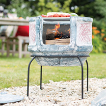 Geometric with Grill Small Chimenea