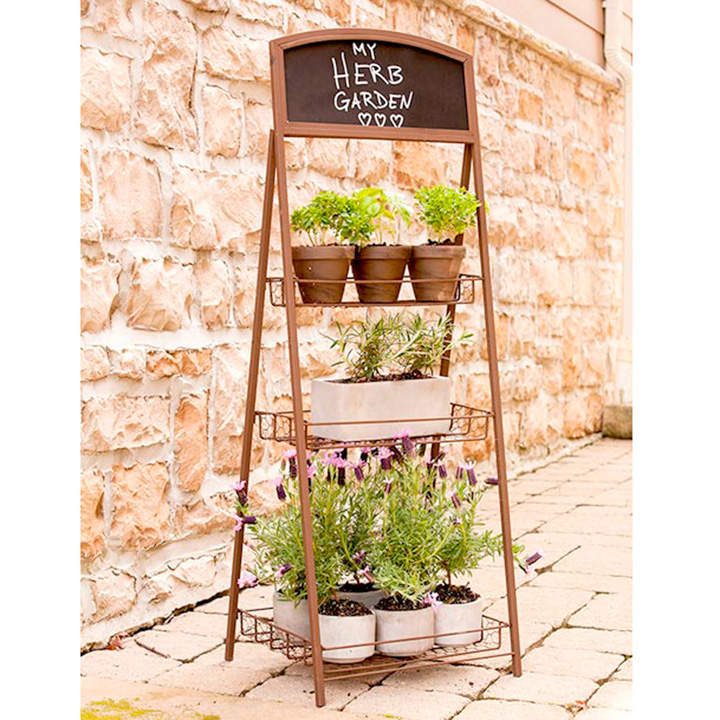3 Tier Rustic Folding Chalkboard Plant Stand