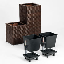 2-Stage Rattan Planter with Irrigation System