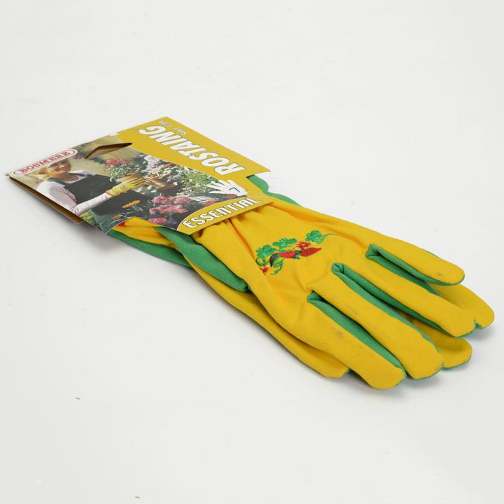 Gardening Gloves - Ladies Essential Embroidered Cotton Green Size 7