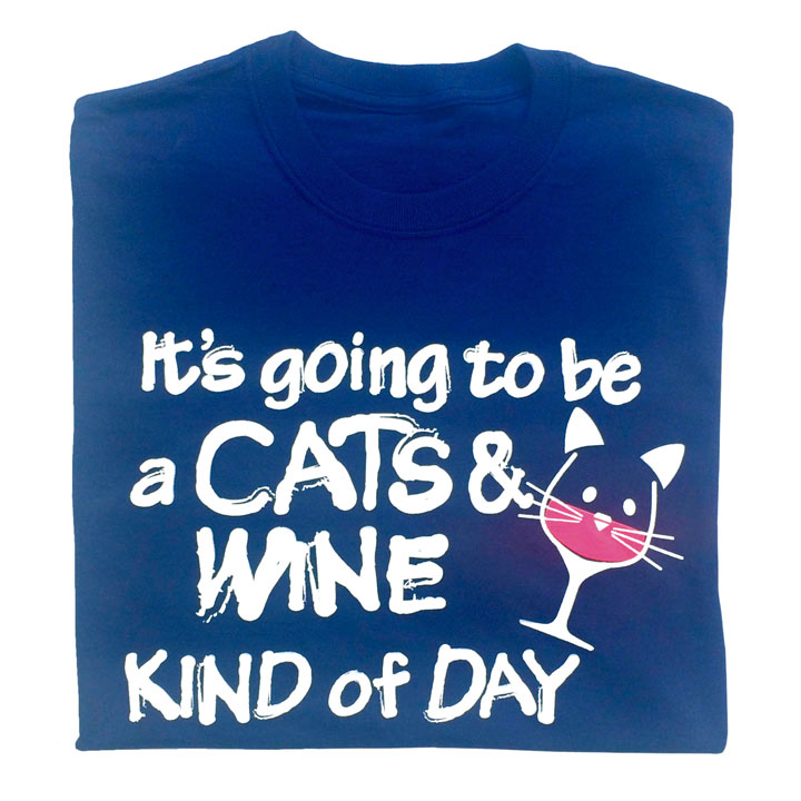 T-Shirt Cats and Wine