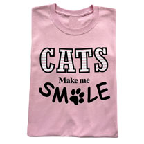 T-shirt Cats Make Me Smile - PInk