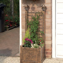 Trellis Planter with Solar Lanterns - Antique Bronze