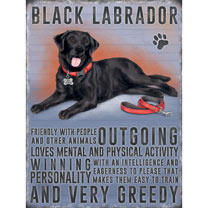 Black Labrador Metal Sign