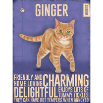 Ginger Cat Metal Sign