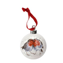 Two Birds of a Feather Bauble - Robins