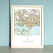 My Home Landranger Framed Map - Ivory