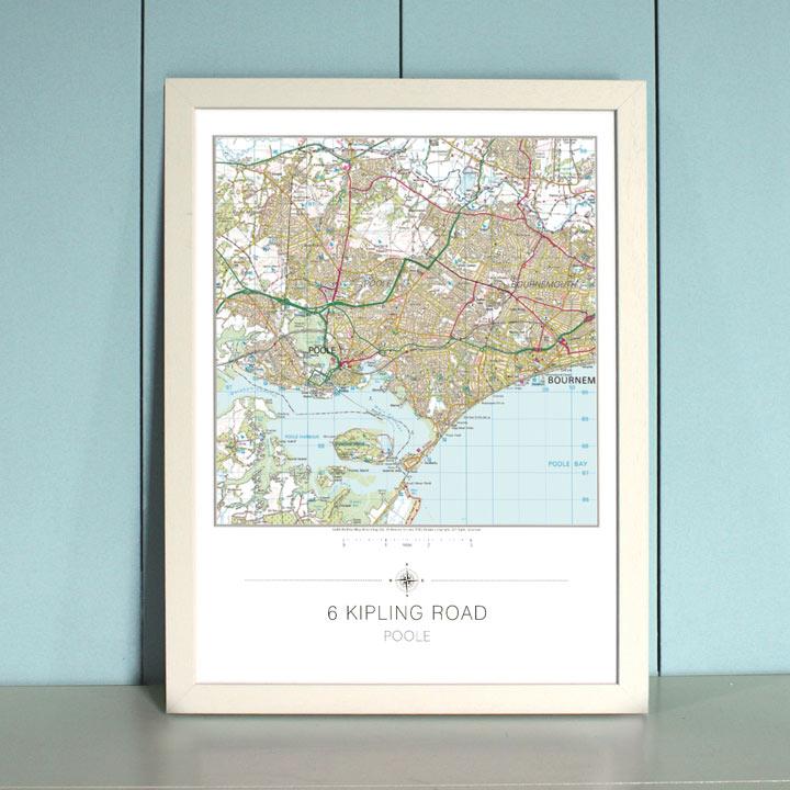 My Home Landranger Framed Map - Ivory