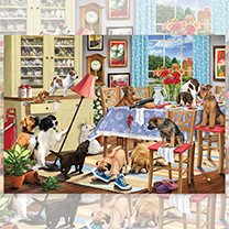 Dogs in Dining Room Jigsaw