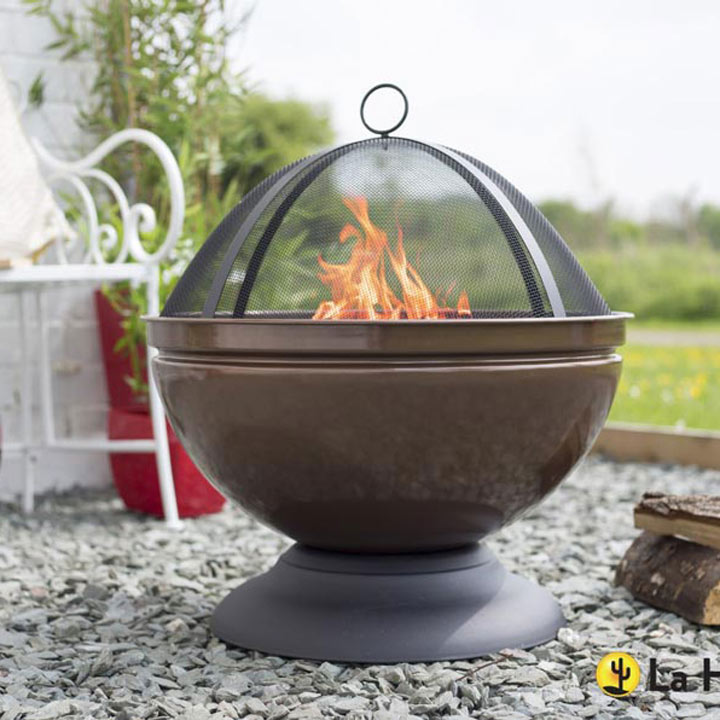 Globe Bronze Firepit with Grill
