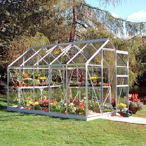 Aluminium Popular 6' x 10' Greenhouse with Hort. Glass + Greenhouse Base + 2 Tier Staging with top extension shelving + Auto Vent