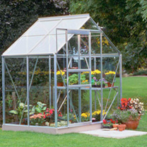 Halls Aluminium Popular Greenhouse with Horti Glass + Base - 6' x 4' & Accessories