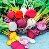 Brighten up mealtimes with this superb mix of round-shaped beets that comes in a host of colours (including the striking Italian variety Chioggia, wit