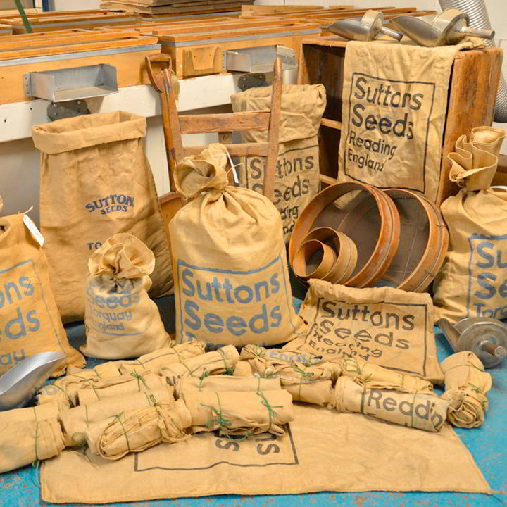 Original Suttons Branded Hessian Seed Sacks at Suttons Seeds
